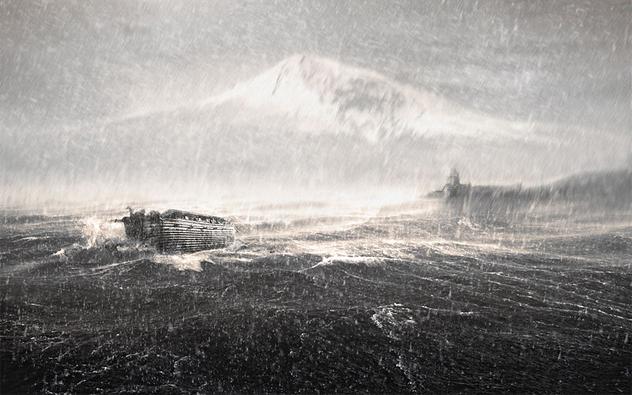 A inundação de Noé arca