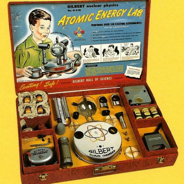 kit de ciência radioativo atomico