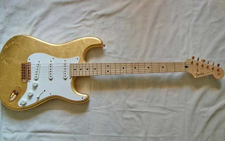 Guitarra Eric Clapton's Gold ouro Leaf Stratocaster 9