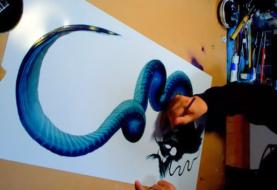 Artista cria desenhos de dragões com apenas uma pincelada