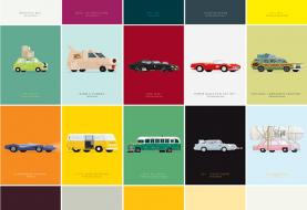 Os carros do cinema em ilustrações de Frederico Birchal