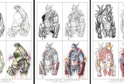 Super-Heróis desenhados a mão