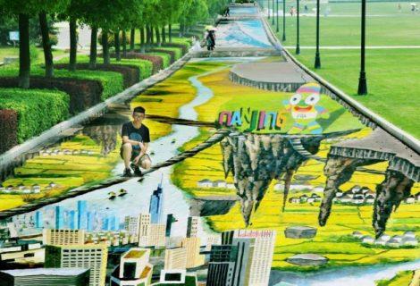 Chineses criam maior pintura 3D de rua do mundo