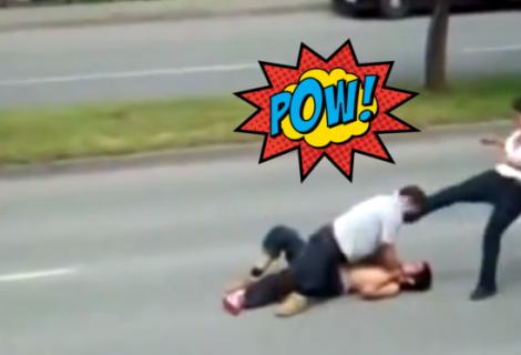 Mãe defende filho e nocauteia adversário