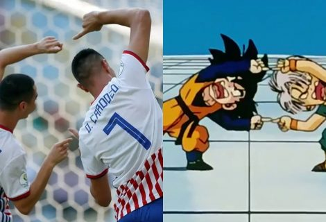 Dragon Ball Z: jogadores do Paraguai comemoram gol com fusão