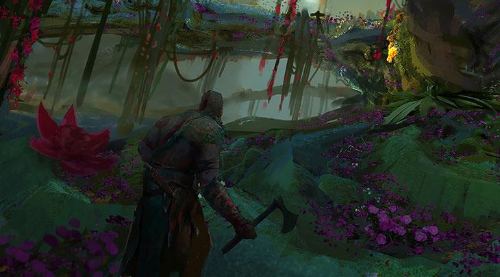 Kratos aparece em um possível cenário da mitologia nórdica.