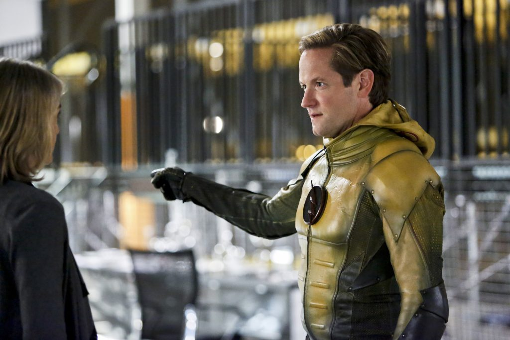 "The Flash -- ""The Reverse Flash Returns"" -- Image FLA211b_0017b -- Pictured (L-R): Amanda Pays as Christina McGee and Matthew Letscher as Eobard Thawne/Reverse Flash -- Photo: Bettina Strauss/The CW -- © 2016 The CW Network, LLC. All rights reserved."