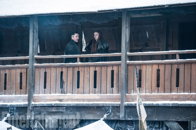 Game of Thrones Behind the Scenes Season 7, Episode TK L-R: Aidan Gillen as Petyr'Littlefinger' Baelish and Sophie Turner as Sansa Stark