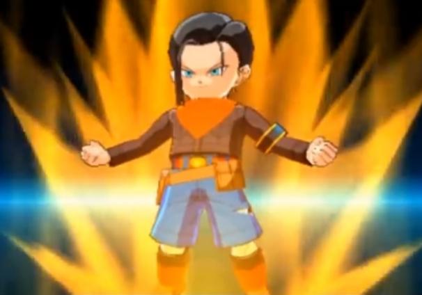 O Androide 1718, conforme visto no game Dragon Ball Fusions