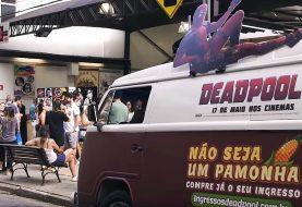 Carro de pamonha anuncia ingressos de Deadpool 2 em São Paulo