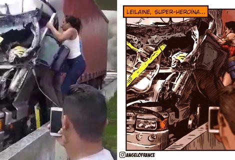 Quadrinista desenha mulher que salvou motorista em acidente com Boechat