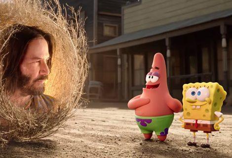 Keanu Reeves é destaque no 1º trailer do novo filme de Bob Esponja