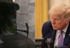 Homem vestido de Hulk destrói estrela de Donald Trump na Calçada da Fama de Hollywood