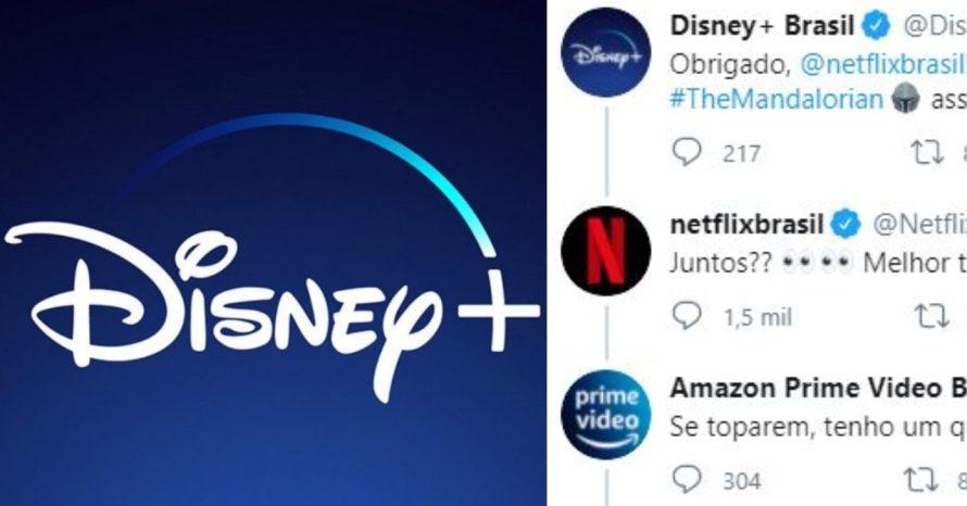 Perfis de Disney+, Netflix e Prime Video no Twiter entram na zoeira