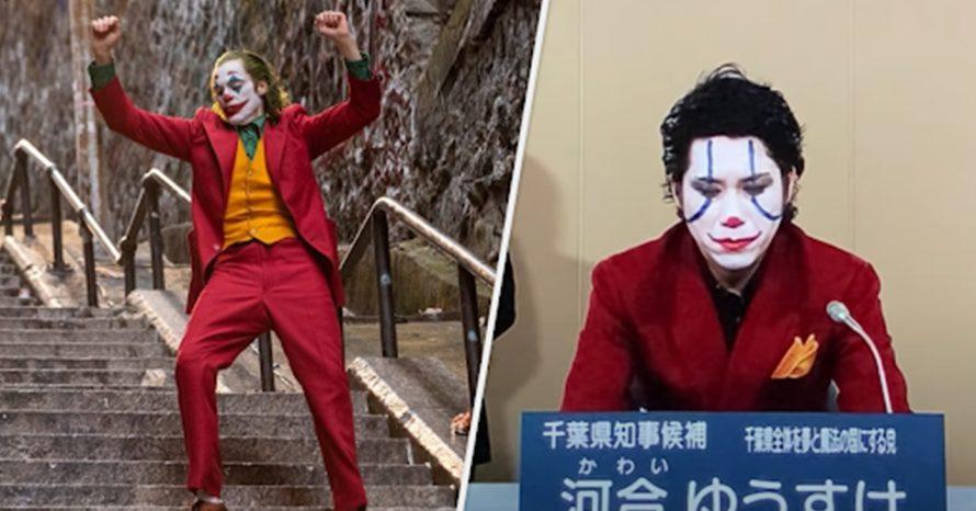 Um homem fantasiado de Coringa está tentando se eleger prefeito no Japão